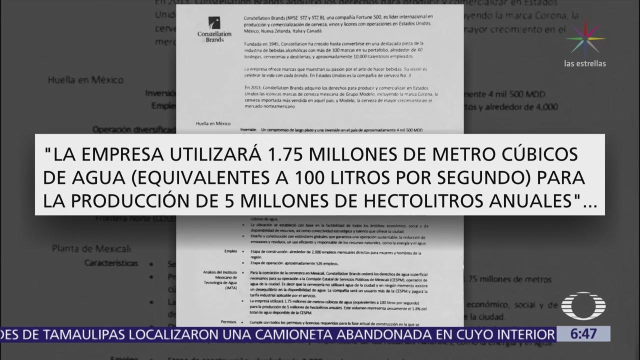 Cervecera afirma que no hay desequilibrio en uso del agua en Mexicali