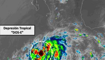 Se desarrolla Depresión Tropical Dos-E en el Pacífico