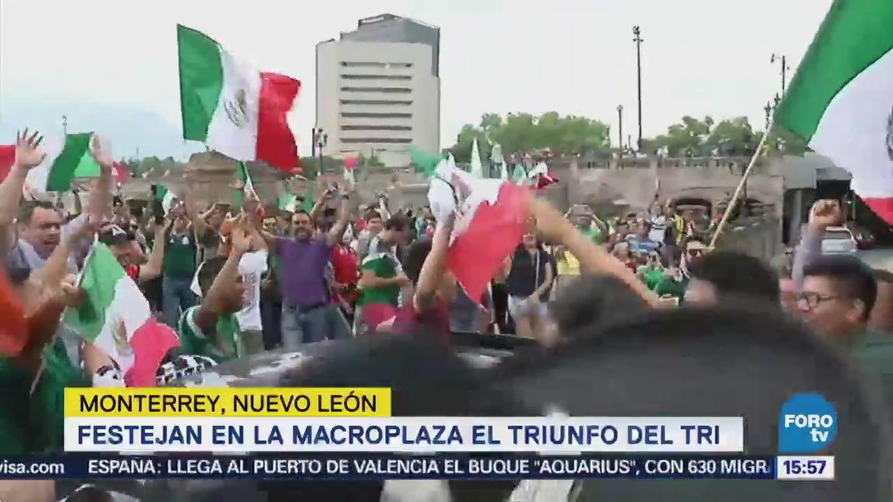En diversos estados celebran el triunfo de México en Rusia