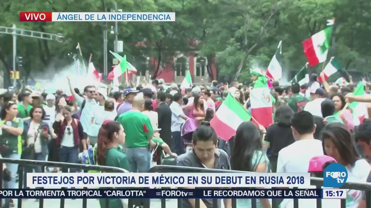 Festejos en el Ángel por victoria de México en Rusia