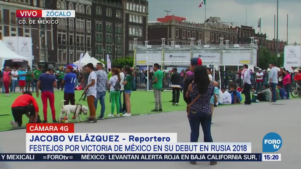Festejos en el Zócalo por triunfo de México en Rusia