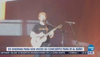 #LoEspectaculardeME: Ed Sheeran detiene dos veces concierto para ir al baño