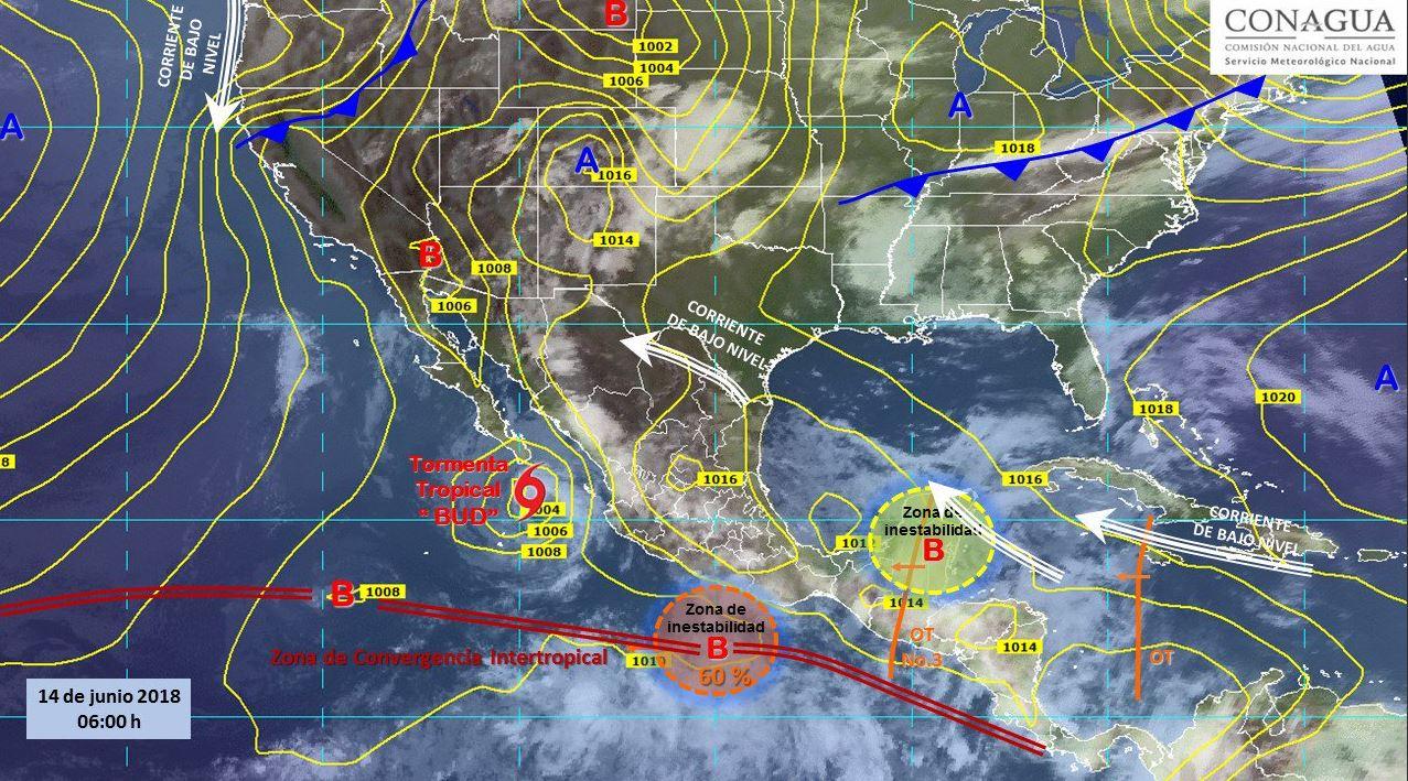 Mapa con el pronóstico del clima para este 14 de junio. (SMN)