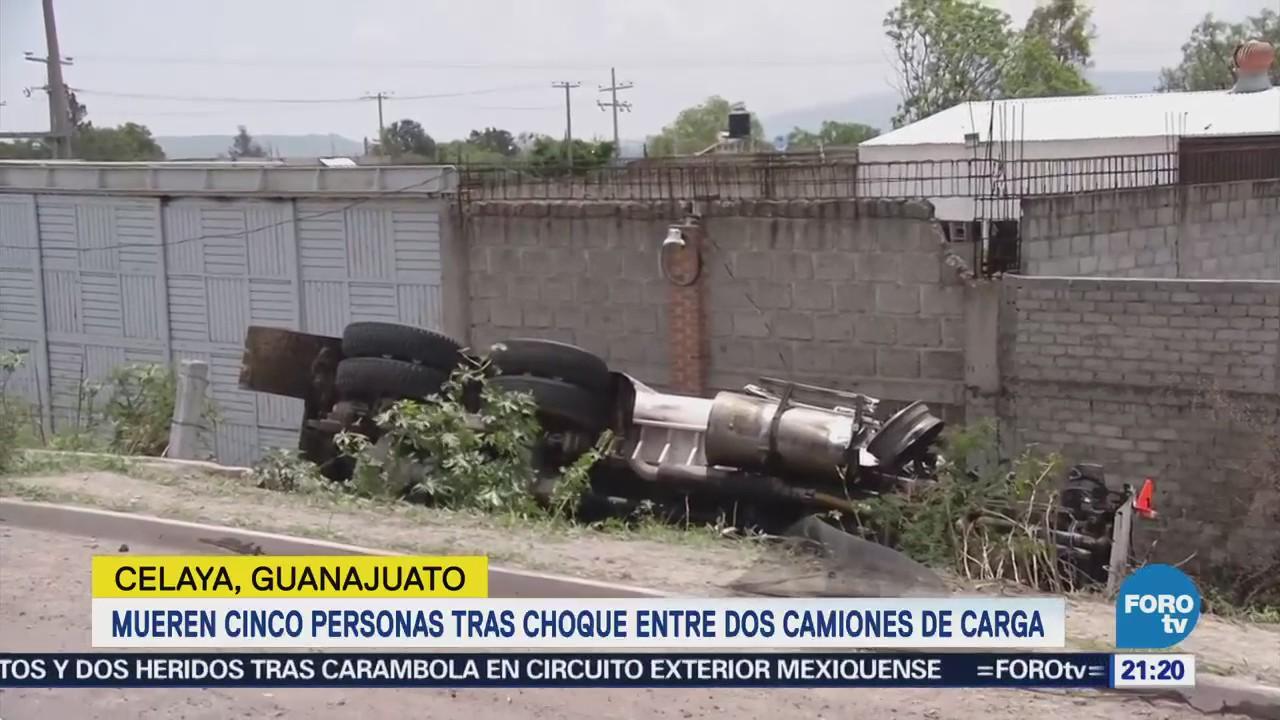 Mueren Personas Choque Camiones Carga Guanajuato