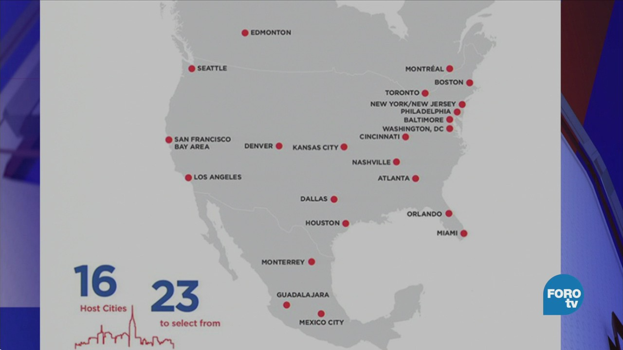 Muestran mapa de las ciudades sede el Mundial 2026