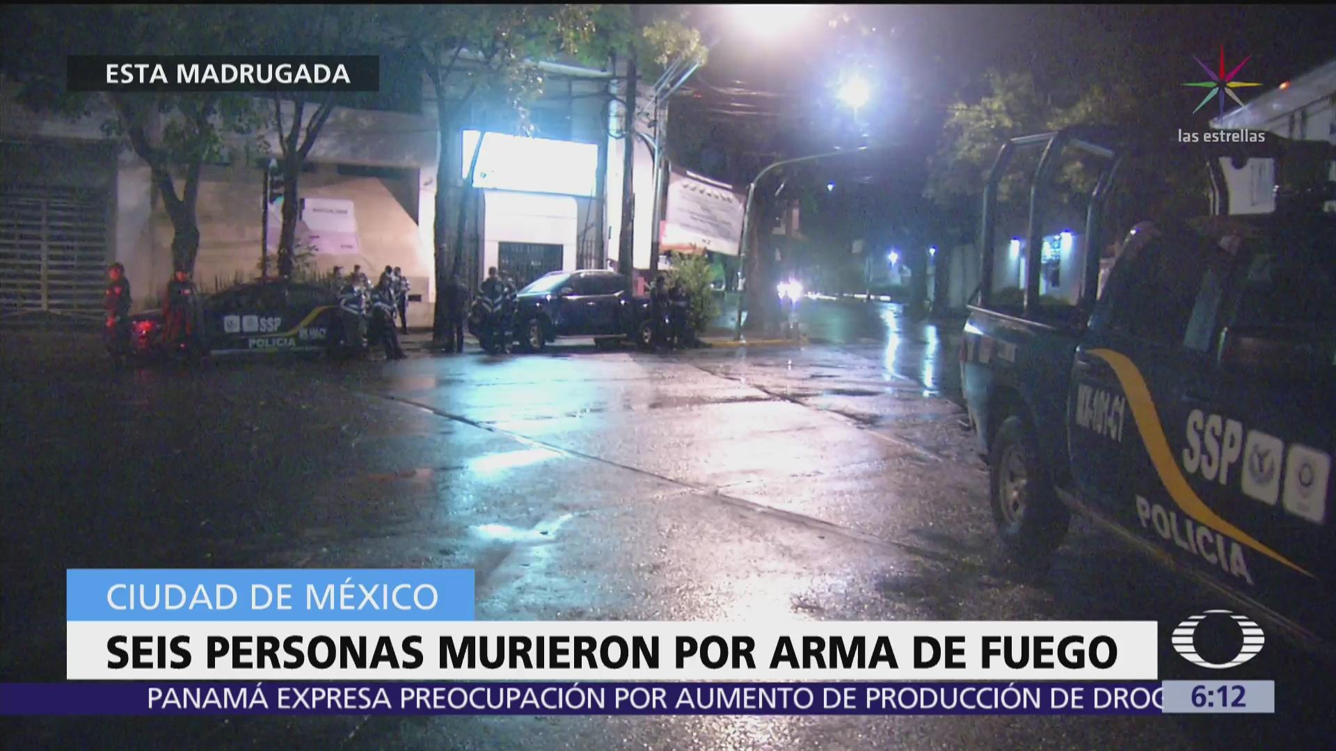 Seis personas mueren por arma de fuego en la CDMX