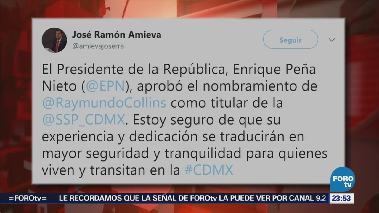 Amieva confirma nombramiento de Raymundo Collins