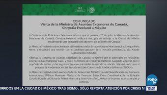 Chrystia Freeland visitará México el 25 de julio: SRE