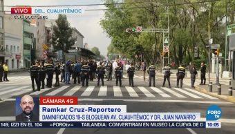 Damnificados del sismo bloquen avenida Cuauhtémoc, CDMX