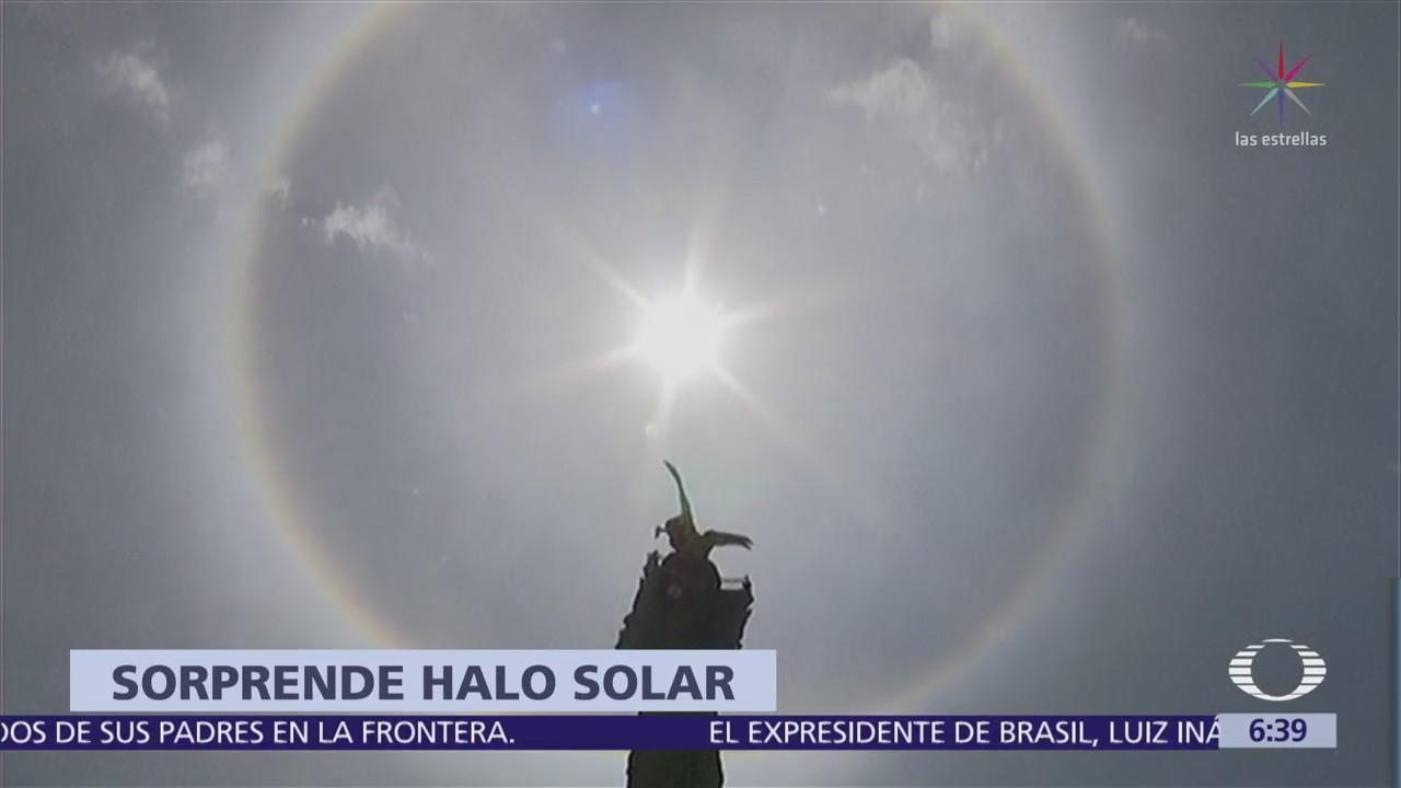 Halo solar sorprende a habitantes de la Ciudad de México