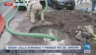 Inician reparación de tubo en la colonia Roma, CDMX