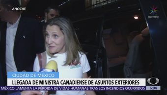 Llega a la CDMX ministra de Asuntos Exteriores de Canadá