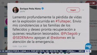Peña Nieto lamenta accidente en Tultepec, que deja varios muertos