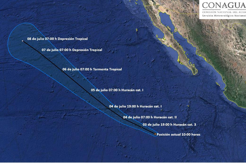 El huracán 'Fabio' ya es categoría 2 en la escala Saffir Simpson