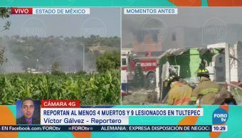 Reportan 4 muertos por explosiones de pirotecnia en Tultepec