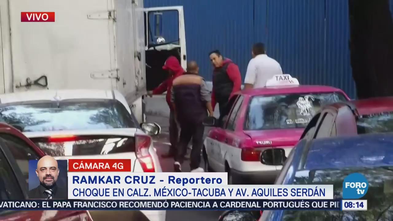 Reportan choque en la calzada México Tacuba, CDMX