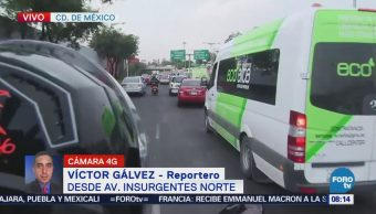 Reportan tránsito fluido en avenida Insurgentes Norte