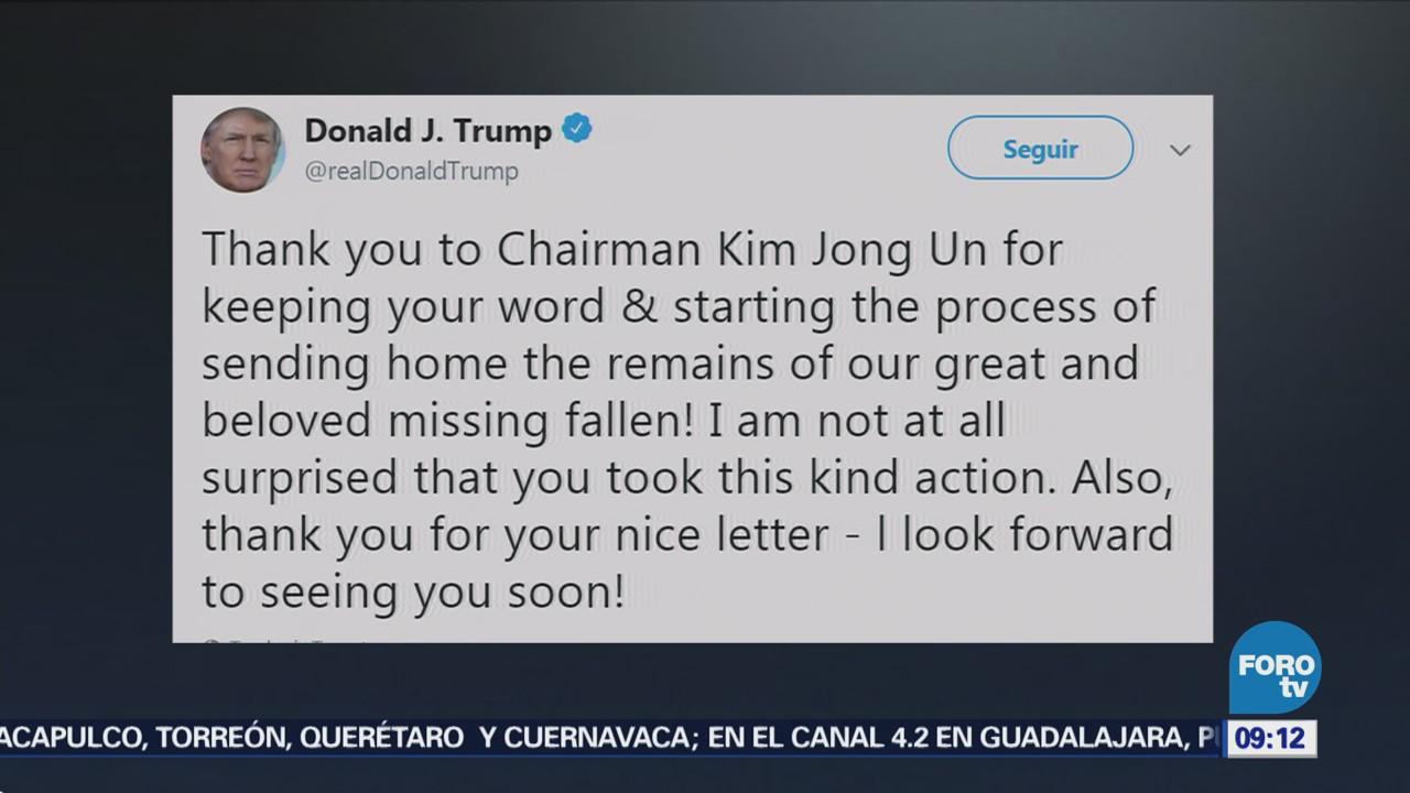 Donald Trump agradece a Kim Jong-un traslado de restos de soldados