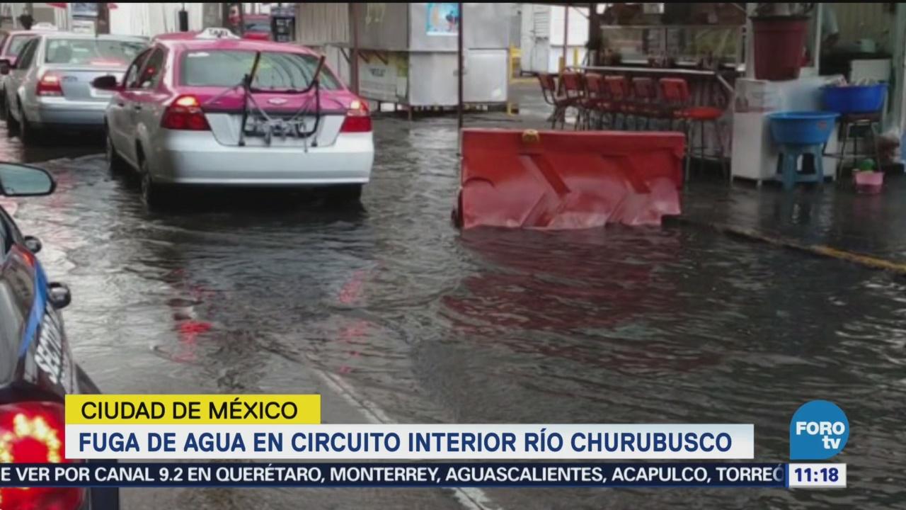 Fuga de aguas negras en Circuito Interior y Río Churubusco