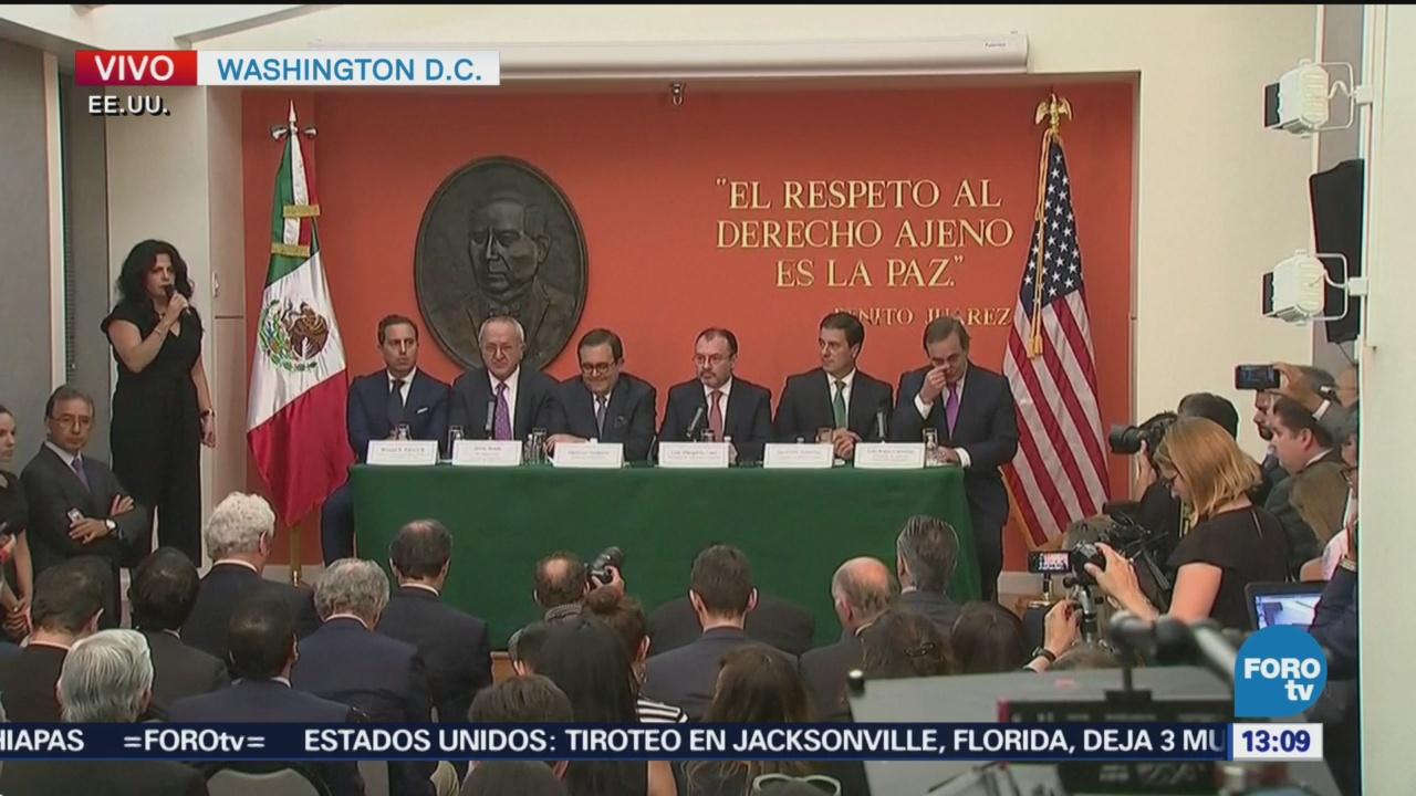 Jesús Seade, Guajardo y Videgaray ofrecen conferencia conjunta tras acuerdo TLCAN