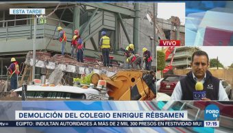 Trabajan Demolición Colegio Enrique Rébsamen