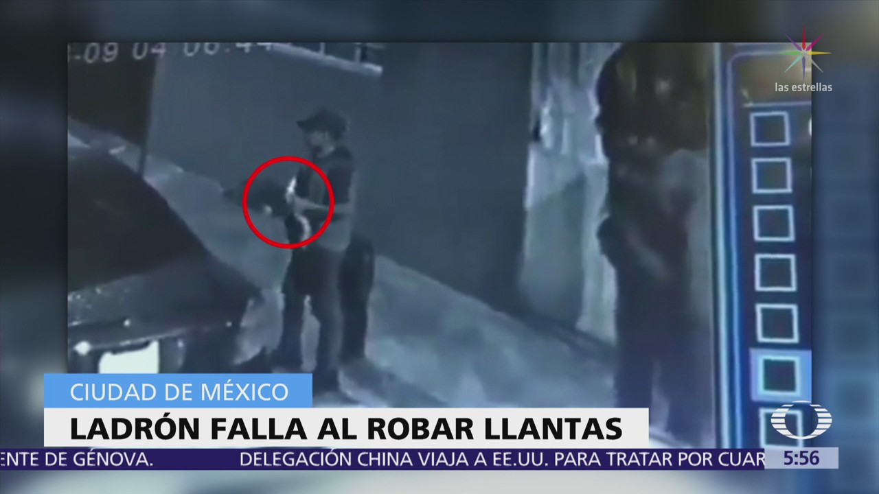 Ladrón falla al intentar robar llantas de auto en CDMX