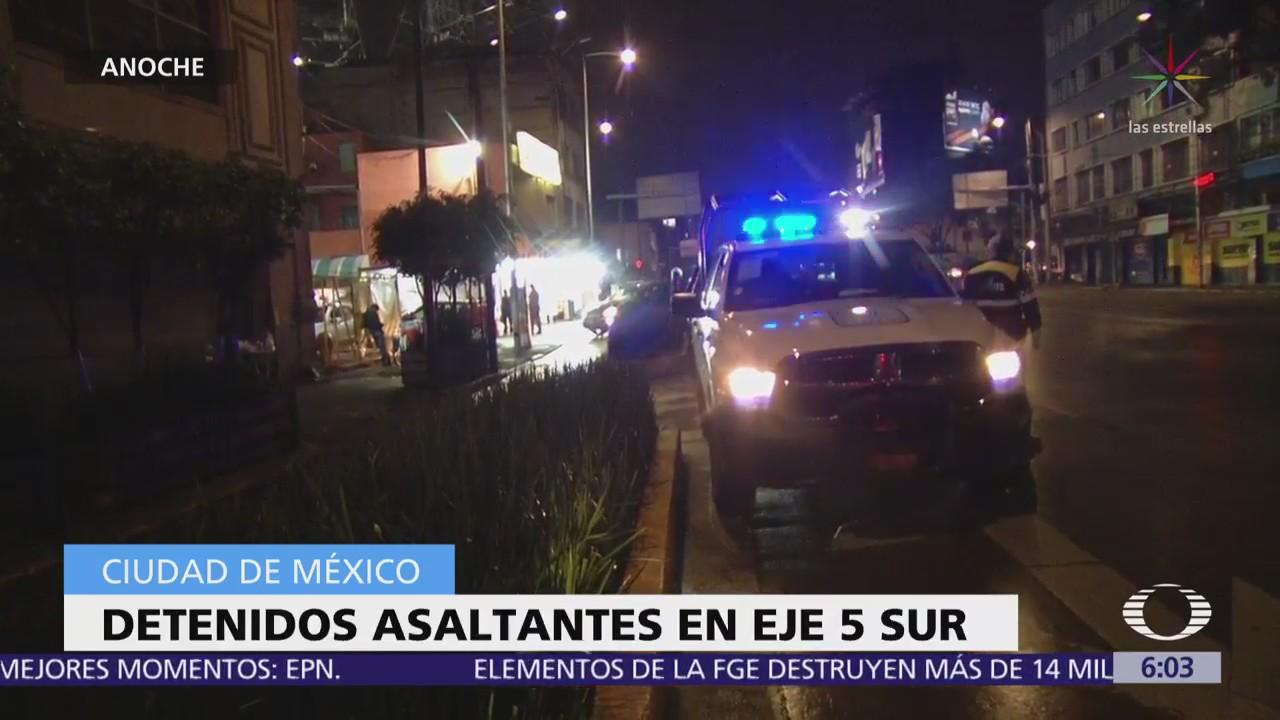 Detienen a asaltantes de una cafetería en Eje 5 Sur, CDMX