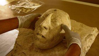 Descubren máscara de estuco de Pakal en Palenque, Chiapas