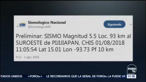 Registran sismo magnitud 5.5 en Pijijiapan, Chiapas