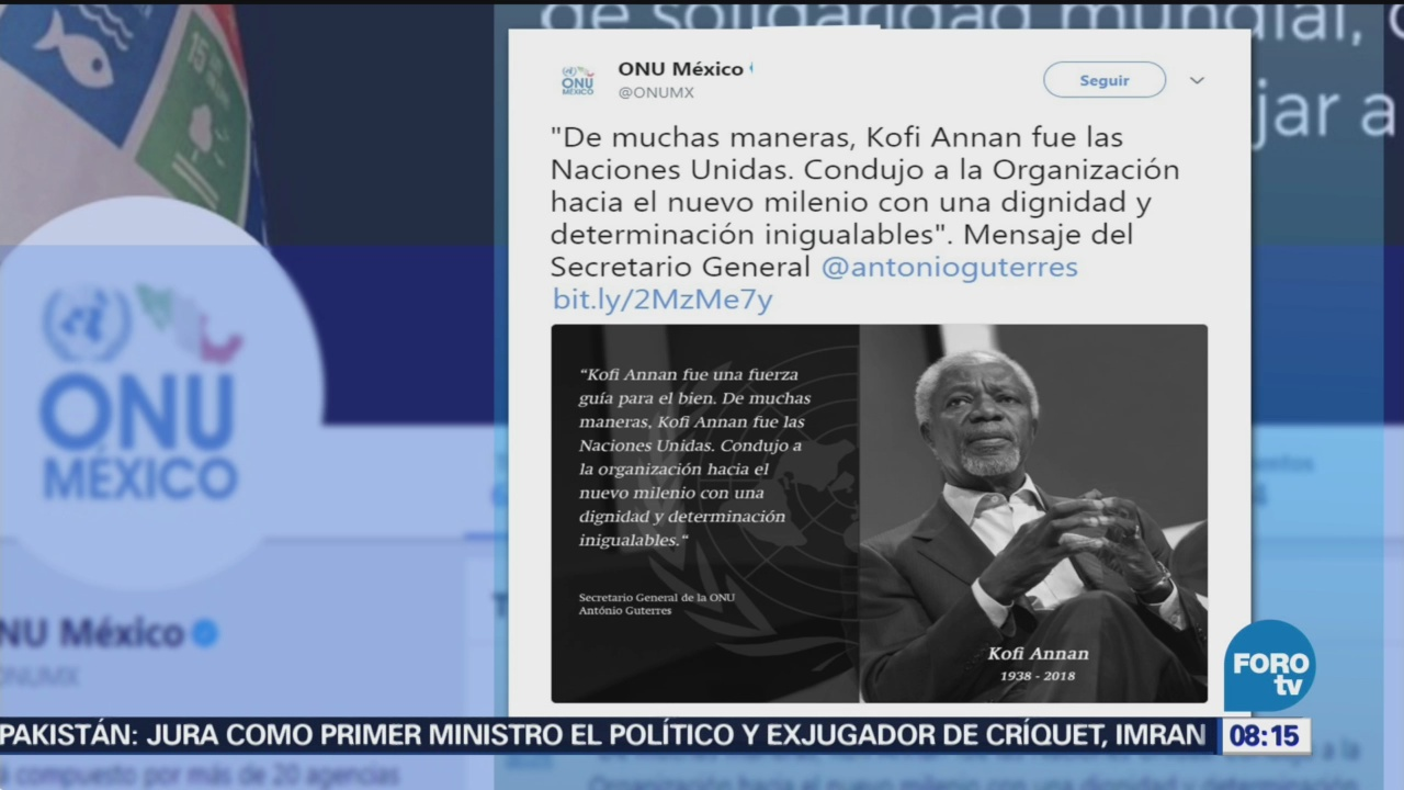 Lamentan Muerte Kofi Annan Presidentes, Líderes Muerte De Kofi Annan, Organización de las Naciones Unidas (ONU),