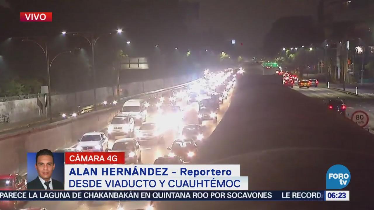 Se presenta tráfico sobre Viaducto y avenida Cuauhtémoc, CDMX