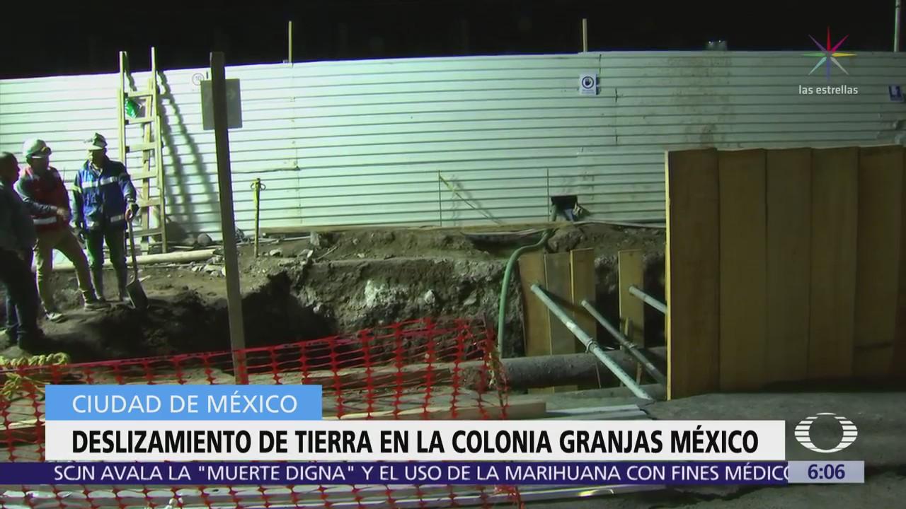 Se registra deslave de tierra en la colonia Granjas México