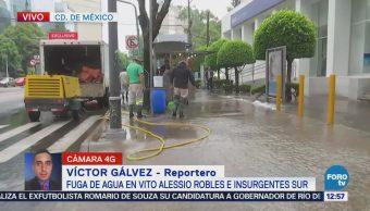 Se registra fuga de agua en Álvaro Obregón
