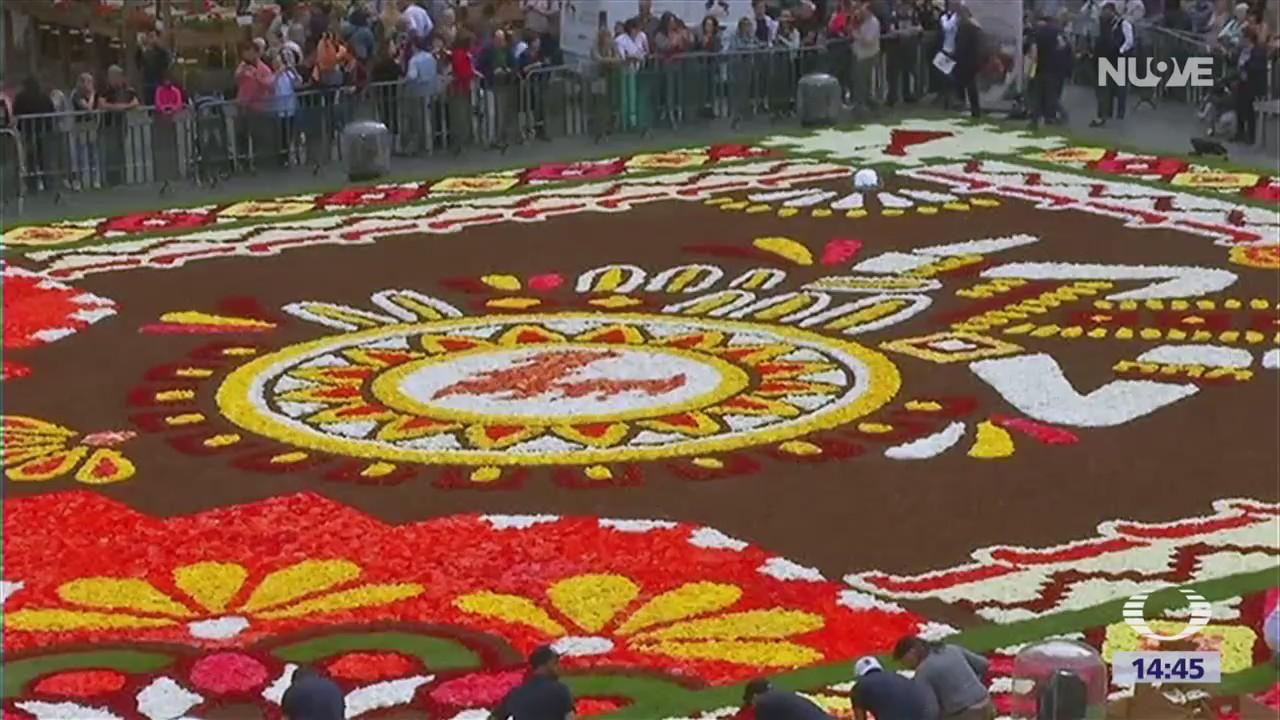 Tapete de flores de Guanajuato adorna Bruselas
