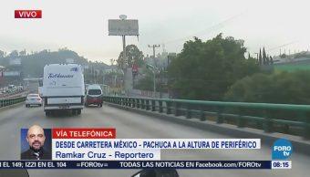 Transporte público afecta vialidad en la México-Pachuca
