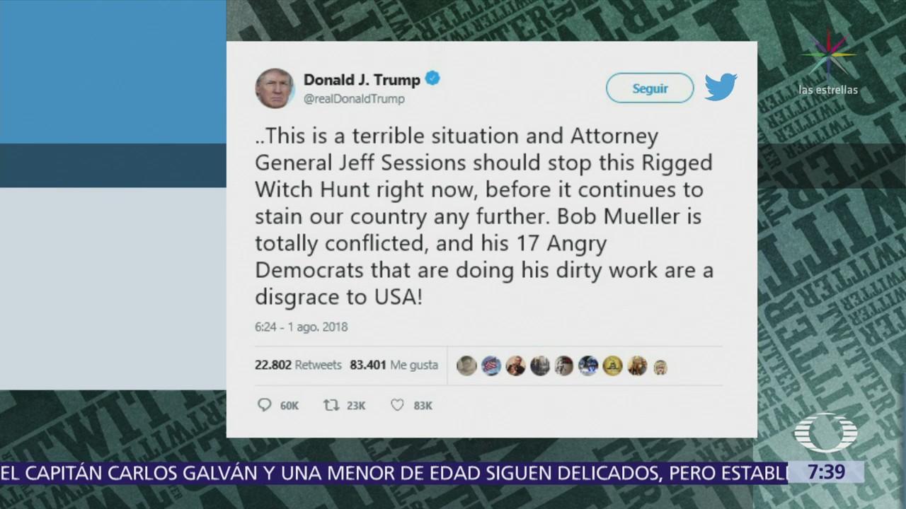Trump pide a Sessions terminar investigación del Rusiagate