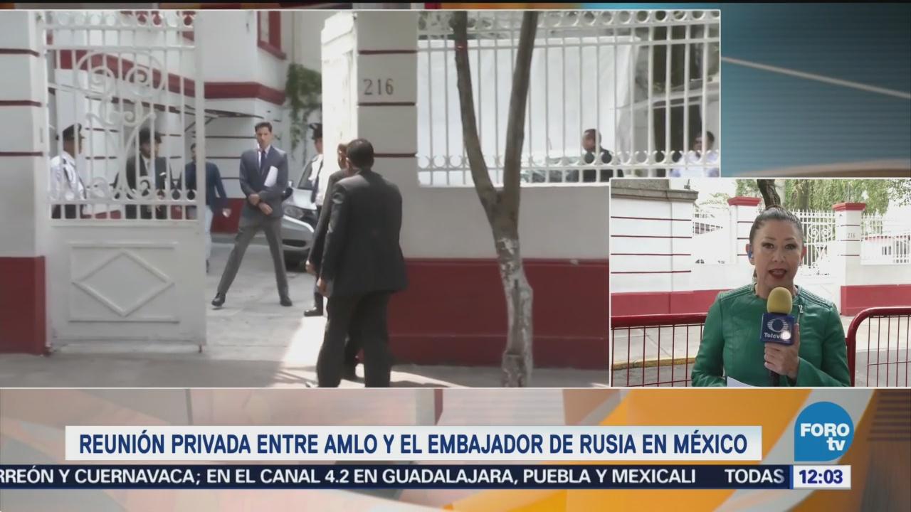 AMLO mantiene reunión privada con el embajador de Rusia en México