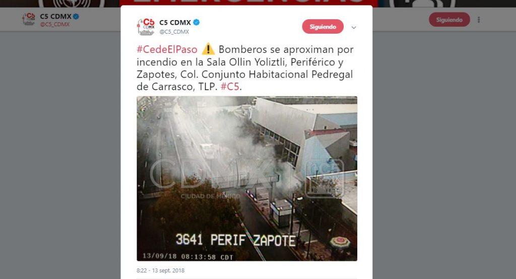C5 informa que hay un incendio en la sala Ollin Yoliztli