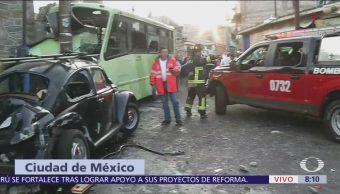 Choque de transporte público Cuautepec Gustavo A. Madero