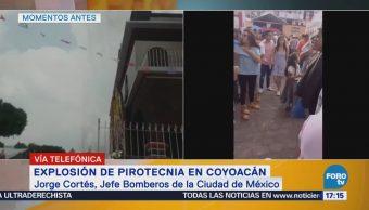 Confirman dos lesionados por explosión de pirotecnia en Coyoacán
