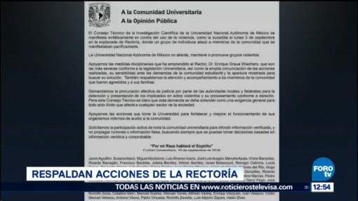 Consejo Técnico de Investigación Científica respalda acciones de Rectoría UNAM