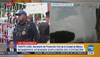 Controlan fuego, tras explosión de pirotecnia en Coyoacán