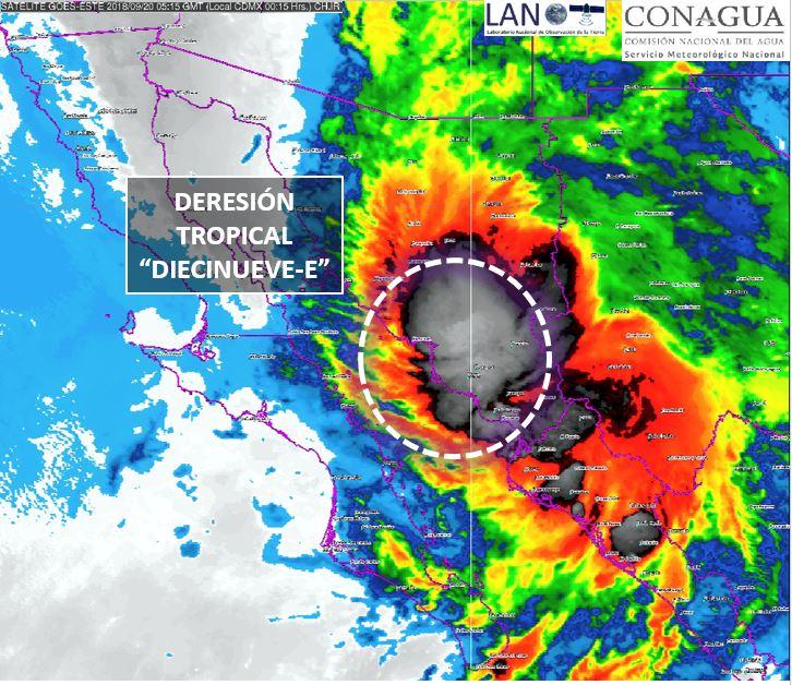 Depresión tropical 19-E toca tierra en Isla Lobos, Sonora
