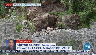 Deslave en la colonia Mirador del Valle en CDMX