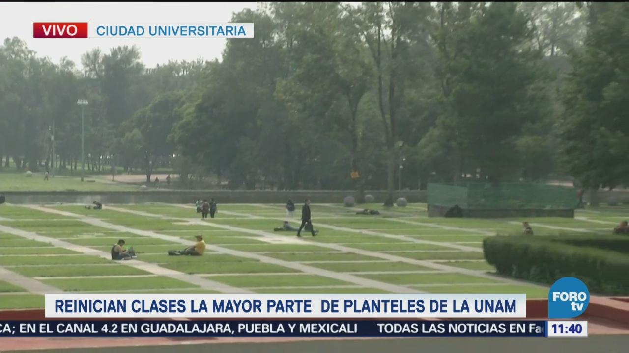 Estudiantes reinician clases en facultades de la UNAM