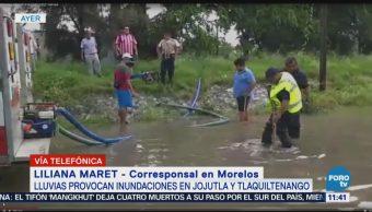 Lluvias dejan inundaciones en Jojutla y Tlaquiltenango