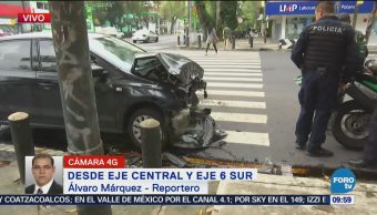 Menor resulta herido accidente automovilístico Eje Central