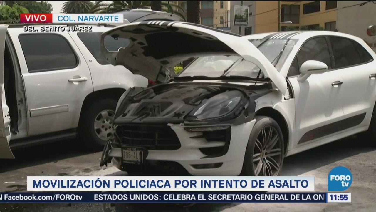 Movilización policiaca por intento de asalto en la Narvarte