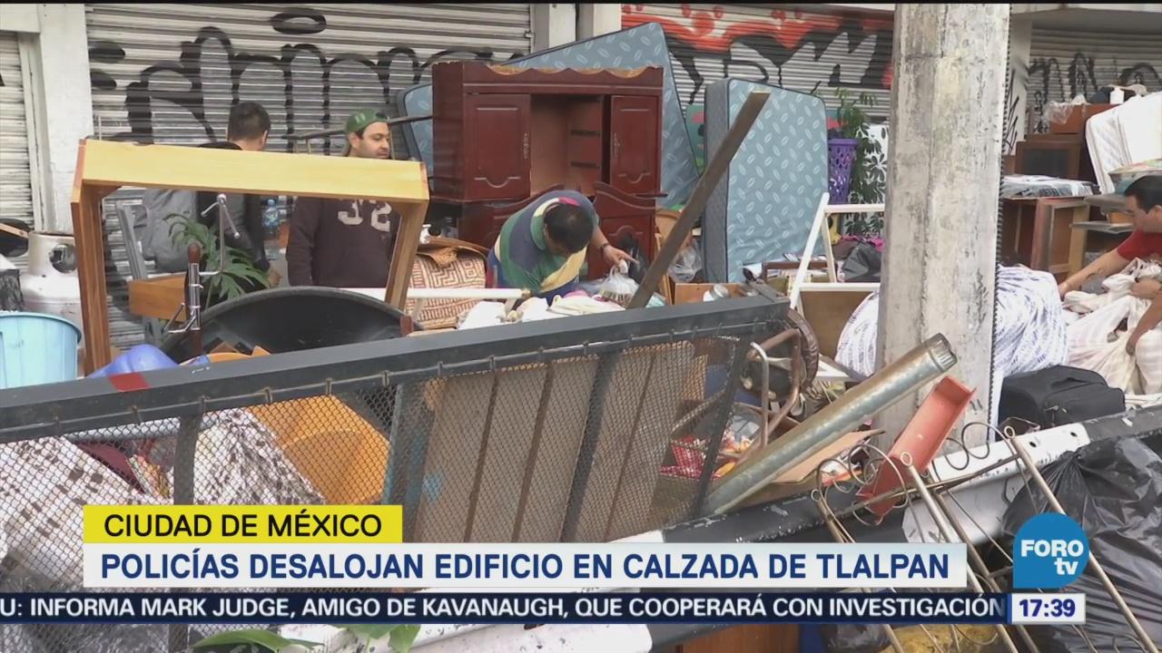 Policías Desalojan Ocupantes Edificio Calzada Tlalpan