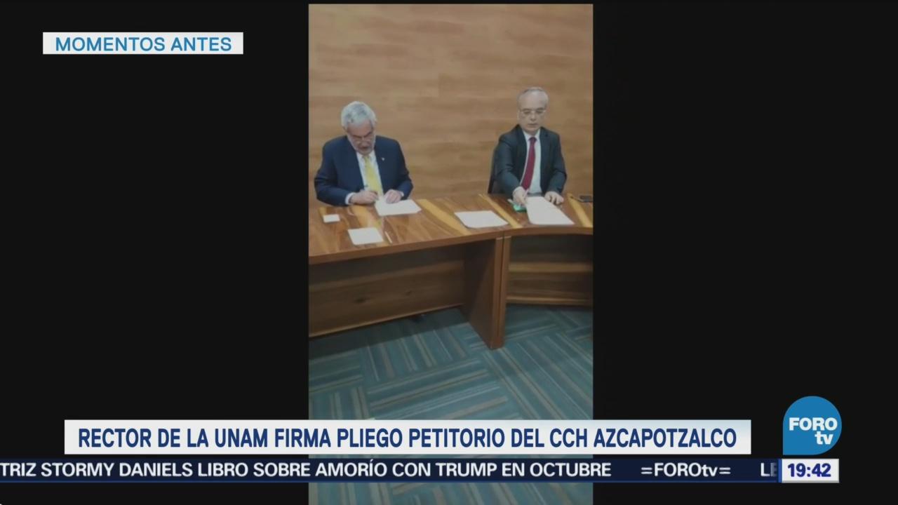 Rector De La UNAM Firma Pliego Petitorio CCH Azcapotzalco